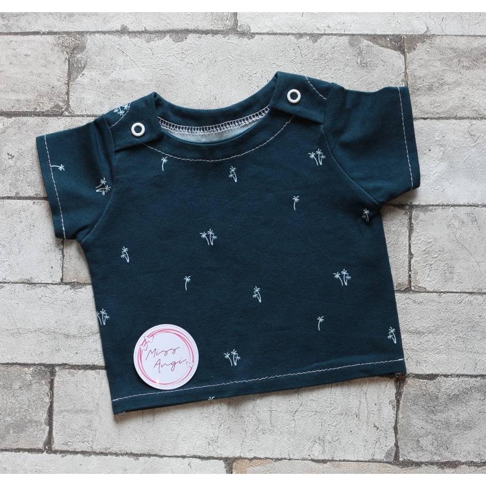 Baby T-Shirt Gr. 56  blau mit Palmen    + UNIKAT + Bild 1