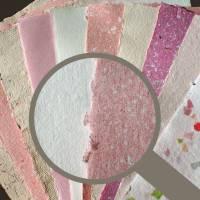 10 Blatt handgeschöpftes Papier, ca. 21 cm x 29,5 cm, Bastelpapier rosa, rosabeige Bild 1
