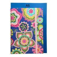 """Notizbuch Hardcover """"Summer"""" etwas kleiner als A5 Sonderformat stoffbezogen Hippie Boho Muster Geschenk Bild 4"""