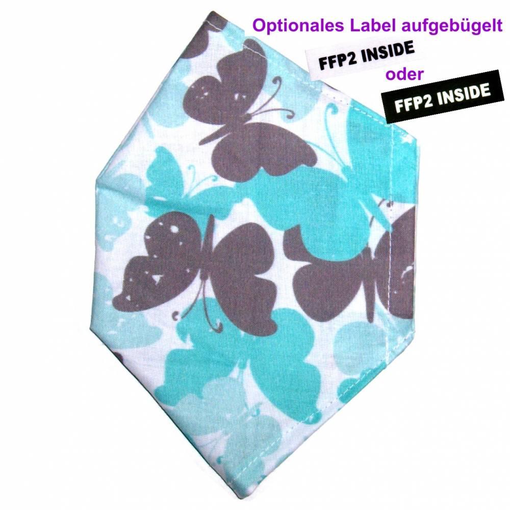 """Überzug für FFP2 Maske """"Schmetterlinge Minze"""" - einlagig - 100% Baumwolle - Waschbar - Stoffhülle - Stoffüberzug Bild 1"""