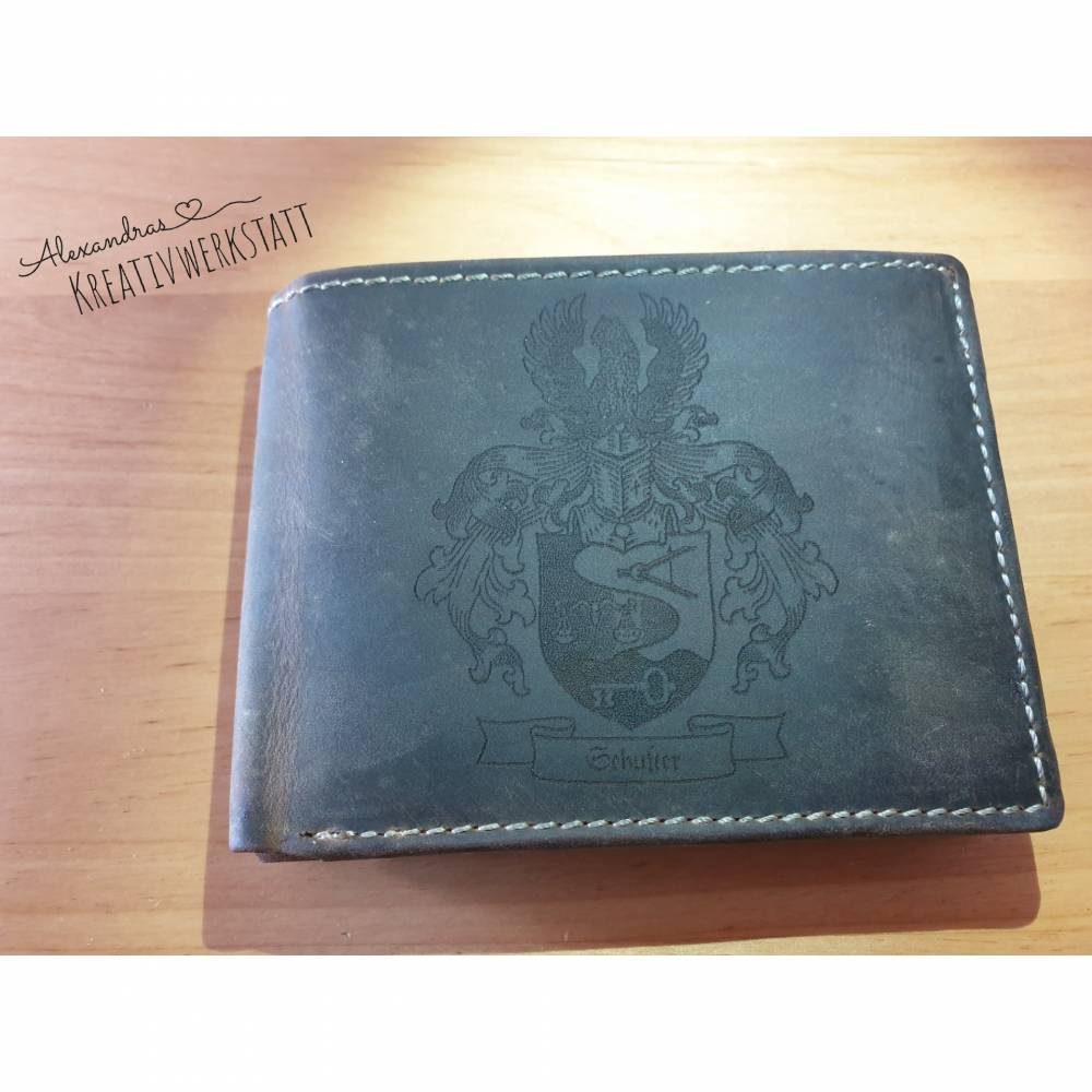 Gravierte Geldbörse Natur Leder Vintage Hellbraun oder Dunkelbraun - Geldbeutel / Portemonnaie / Brieftasche individuell Bild 1