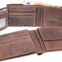 Gravierte Geldbörse Natur Leder Vintage Hellbraun oder Dunkelbraun - Geldbeutel / Portemonnaie / Brieftasche individuell Bild 2