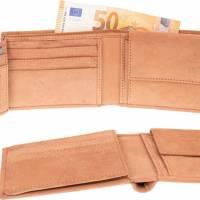 Gravierte Geldbörse Natur Leder Vintage Hellbraun oder Dunkelbraun - Geldbeutel / Portemonnaie / Brieftasche individuell Bild 4