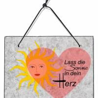 Wand Schild Spruch Sonne Herz Motivation Lebensweisheit Zitat Geschenk Schiefer Bild Wanddeko 20x15cm Bild 1