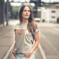 Damen-Shirt BIO Einzelstück Grau / Kupfer Bild 1