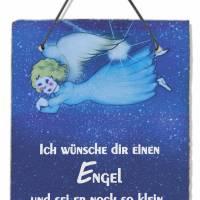 Schiefer Schild Spruch Engel Geschenke für Geburtstag Geburt Taufe Baby Bild mit Zitat Schutzengel Motivation Wanddeko  Bild 1