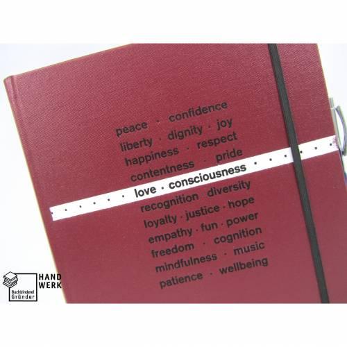 Notizbuch A4, dunkel-rot, Stiftschlaufe, 150 Blatt, peace freedom love respect hope power, Best Wishes