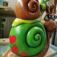 Süsse Doppelschnecke aus Keramik Bild 1