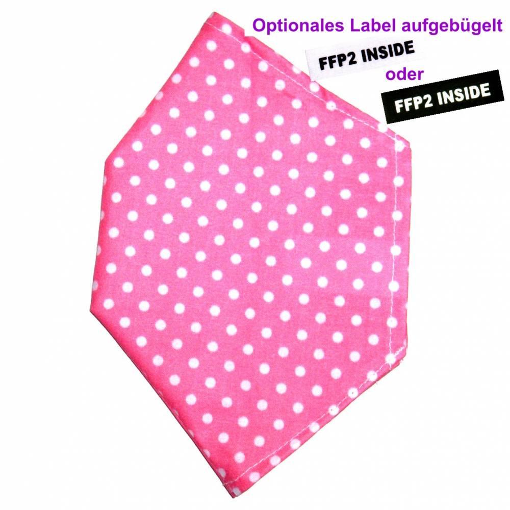 """Überzug für FFP2 Maske """"Punkte Rosa"""" - einlagig - 100% Baumwolle - Waschbar - Stoffhülle - Stoffüberzug Bild 1"""