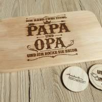 Frühstücksbrett/Vesperbrett/Schneidebrett Laser Gravur Papa/Opa Bild 1