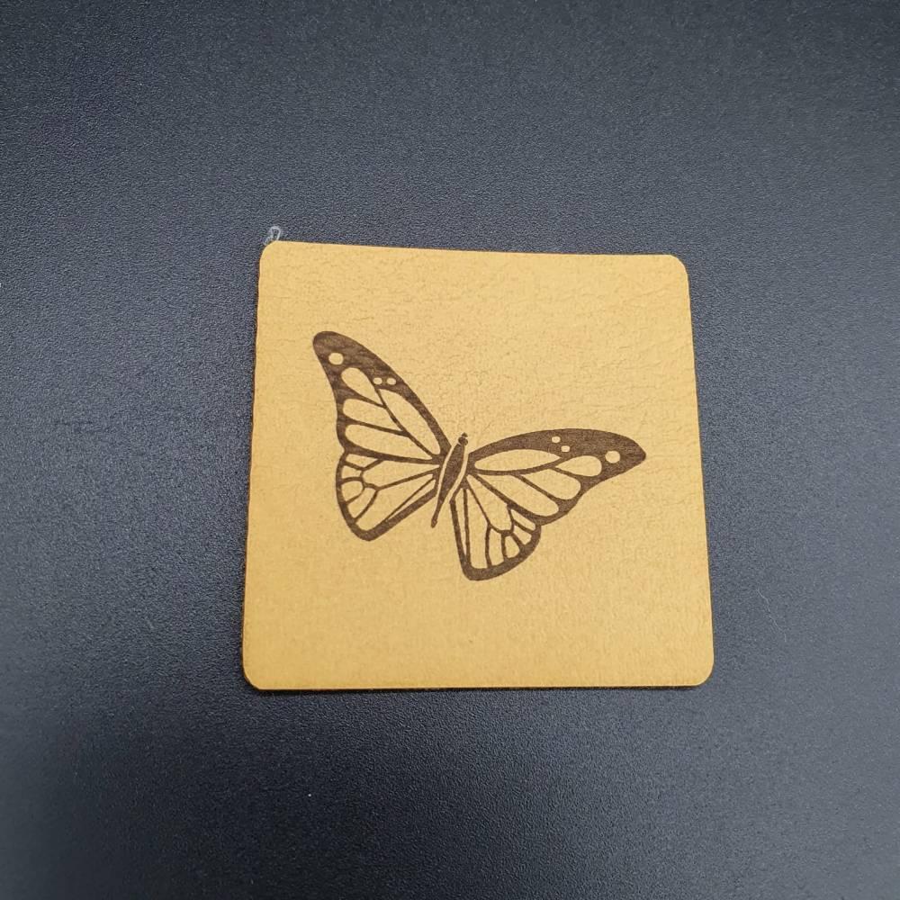 Kunstlederlabel Schmetterling Bild 1