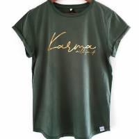 Damen-Shirt BIO *Karma will fix it* Print gold - aus 100% fairer und ethischer Herstellung - LOOSE FIT Bild 1