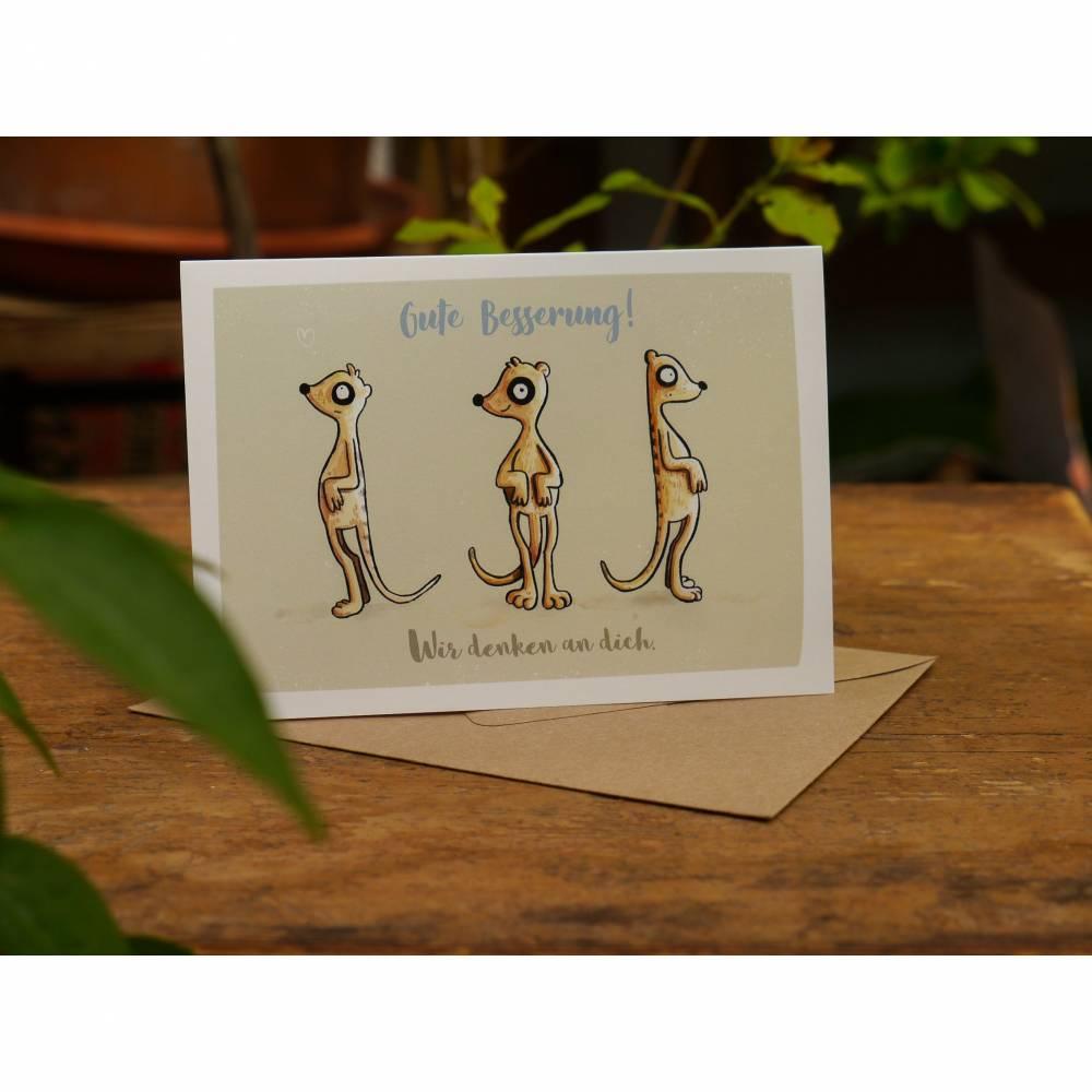 Gute Besserung Postkarte mit Umschlag, lustige Grußkarte, Erdmännchen Postkarte Bild 1