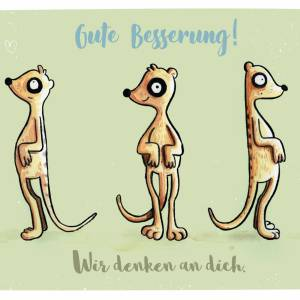 Gute Besserung Postkarte mit Umschlag, lustige Grußkarte, Erdmännchen Postkarte Bild 2