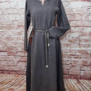 Wikinger Leinen Kleid braun, used look, Unterkleid Mittelalter, Leinenkleid, stone washed, Reenactment, Cosplay, LARP Bild 1