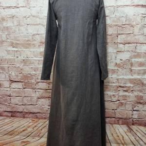 Wikinger Leinen Kleid braun, used look, Unterkleid Mittelalter, Leinenkleid, stone washed, Reenactment, Cosplay, LARP Bild 4