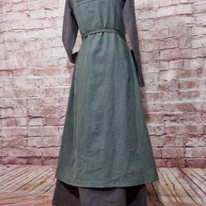 Wikinger Leinen Kleid braun, used look, Unterkleid Mittelalter, Leinenkleid, stone washed, Reenactment, Cosplay, LARP Bild 8
