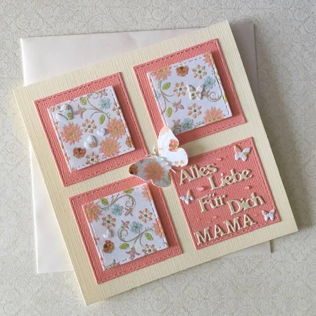 Muttertag, Grußkarte zum Muttertag, Muttertagskarte mit Schmetterlingen Bild 1