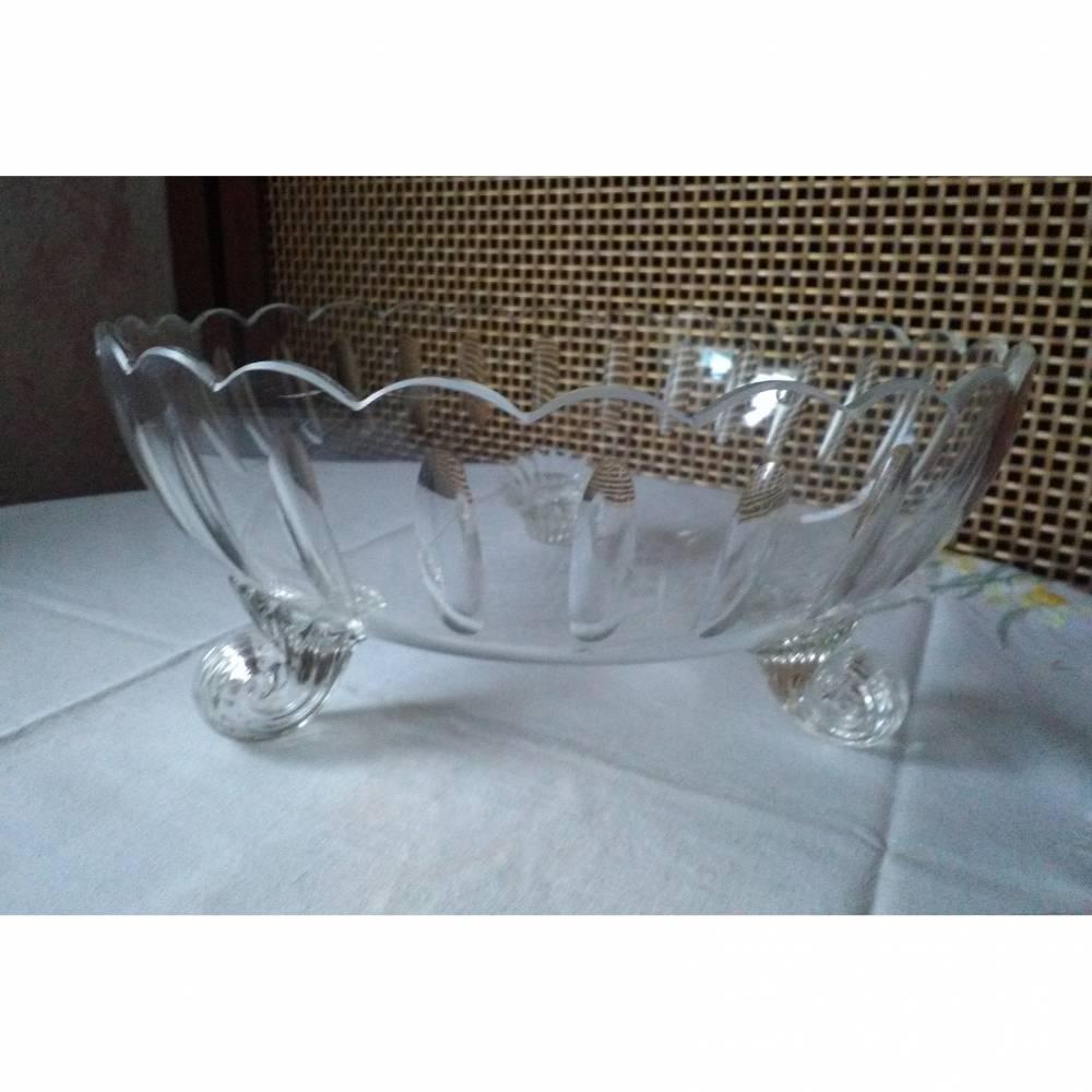 Große elegante Glasschüssel auf drei Füßen Bild 1