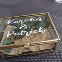 Aufkleber für Ringbox, Hochzeit, Ringe, Ringkissen, Vintage, roségold, personalisierte Aufkleber Bild 1