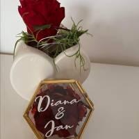Aufkleber für Ringbox, Hochzeit, Ringe, Ringkissen, Vintage, roségold, personalisierte Aufkleber Bild 2