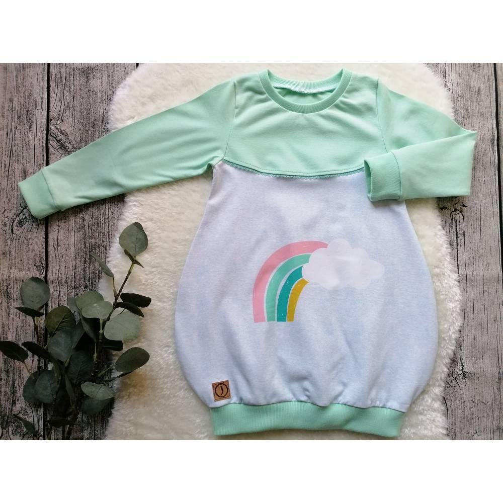 Gr. 104 Pullover / Shirt / Tunika – Mädchen * Regenbogen * Mint Bild 1