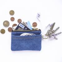 Upcycling Jeans-Schlüsseletui, Kopfhöhrertasche, Geldbörse, Kreditkartentasche Bild 1