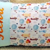 personalisiertes Kissen, Namenskissen, Babykissen, Geburtskissen, für Jungen Mädchen Luftfahrt Geschenk Geburtstag  Bild 3