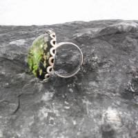 Klee Resin  versilbert Ring  rund kuppel Bild 2