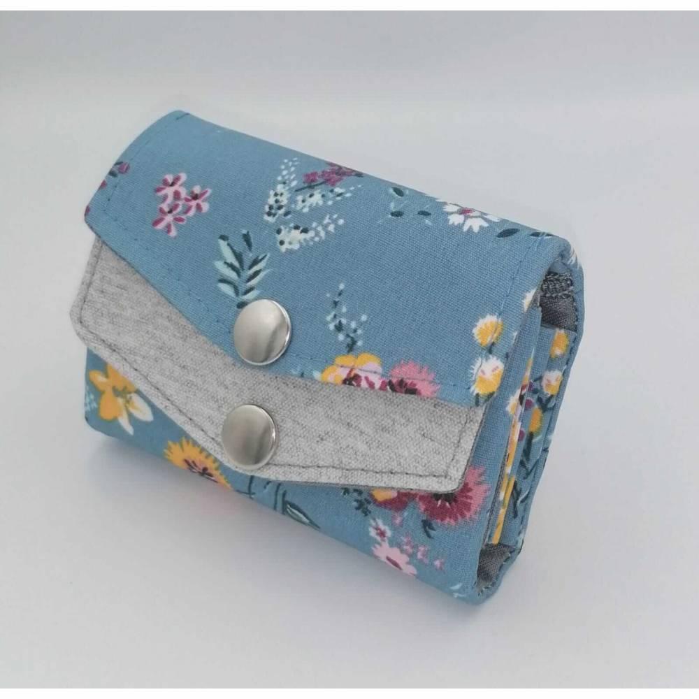 Kleines Damen Portemonnaie für die Hosentasche Blau Blumen  Mini Genius Bild 1