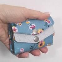 Kleines Damen Portemonnaie für die Hosentasche Blau Blumen  Mini Genius Bild 4