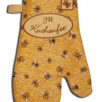 Ein Paar Ofenhandschuhe Bienen Honigwaben Kuchenfee Topfhandschuhe Topflappen Küchenhelfer Geschenke Damen Herren Bild 1