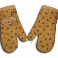 Ein Paar Ofenhandschuhe Bienen Honigwaben Kuchenfee Topfhandschuhe Topflappen Küchenhelfer Geschenke Damen Herren Bild 2