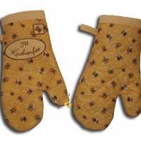 Ein Paar Ofenhandschuhe Bienen Honigwaben Kuchenfee Topfhandschuhe Topflappen Küchenhelfer Geschenke Damen Herren Bild 3