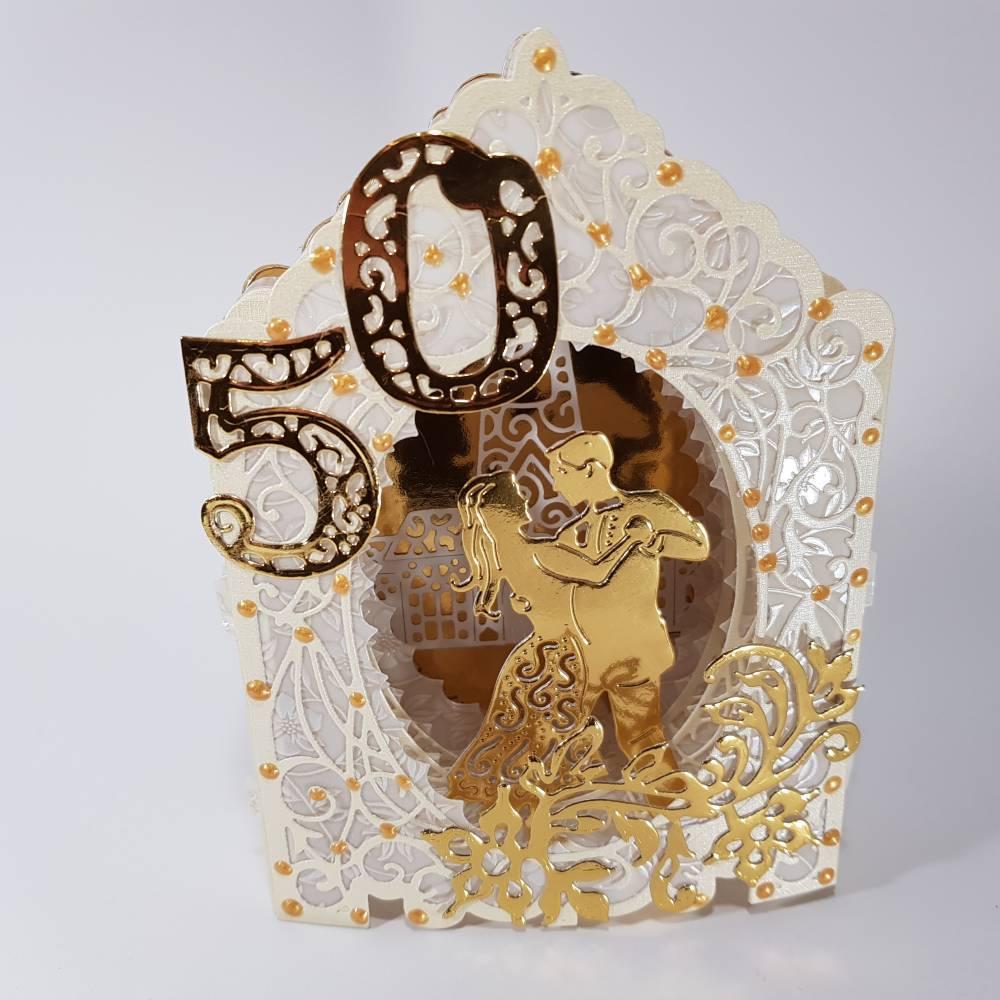 Goldhochzeit-Karte Dioramakarte gold creme perlmutt edel elegant Stellkarte Grußkarte Goldene Hochzeit Bild 1