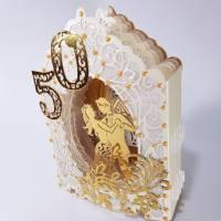 Goldhochzeit-Karte Dioramakarte gold creme perlmutt edel elegant Stellkarte Grußkarte Goldene Hochzeit Bild 2