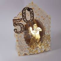 Goldhochzeit-Karte Dioramakarte gold creme perlmutt edel elegant Stellkarte Grußkarte Goldene Hochzeit Bild 3