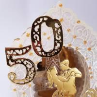Goldhochzeit-Karte Dioramakarte gold creme perlmutt edel elegant Stellkarte Grußkarte Goldene Hochzeit Bild 6