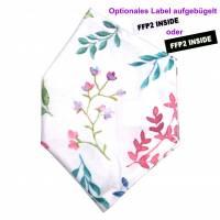 """Überzug für FFP2 Maske """"Aquarellblumen"""" - einlagig - 100% Baumwolle - Waschbar - Stoffhülle - Stoffüberzug Bild 1"""