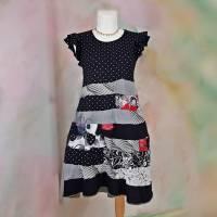 Kleid 46 - 48 schwarz grau Punkte Streifen Handmade Upcycling XXL Unikat Baumwolle T44 Hippie Übergröße Boho Bild 1