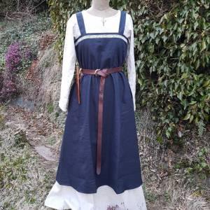 Wikinger Kleid, blaues Leinen Schürzenkleid, Mittelalter Gewandung, Cosplay Kostüm, LARP Bild 1