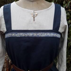 Wikinger Kleid, blaues Leinen Schürzenkleid, Mittelalter Gewandung, Cosplay Kostüm, LARP Bild 2