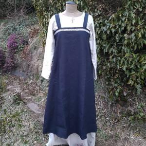 Wikinger Kleid, blaues Leinen Schürzenkleid, Mittelalter Gewandung, Cosplay Kostüm, LARP Bild 3