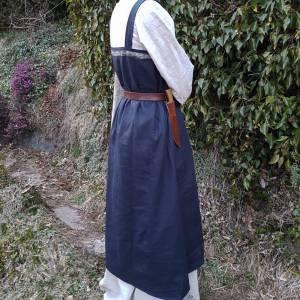 Wikinger Kleid, blaues Leinen Schürzenkleid, Mittelalter Gewandung, Cosplay Kostüm, LARP Bild 5