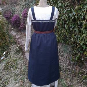 Wikinger Kleid, blaues Leinen Schürzenkleid, Mittelalter Gewandung, Cosplay Kostüm, LARP Bild 7