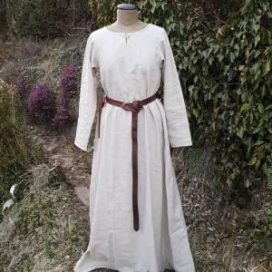Wikinger Kleid, blaues Leinen Schürzenkleid, Mittelalter Gewandung, Cosplay Kostüm, LARP Bild 8