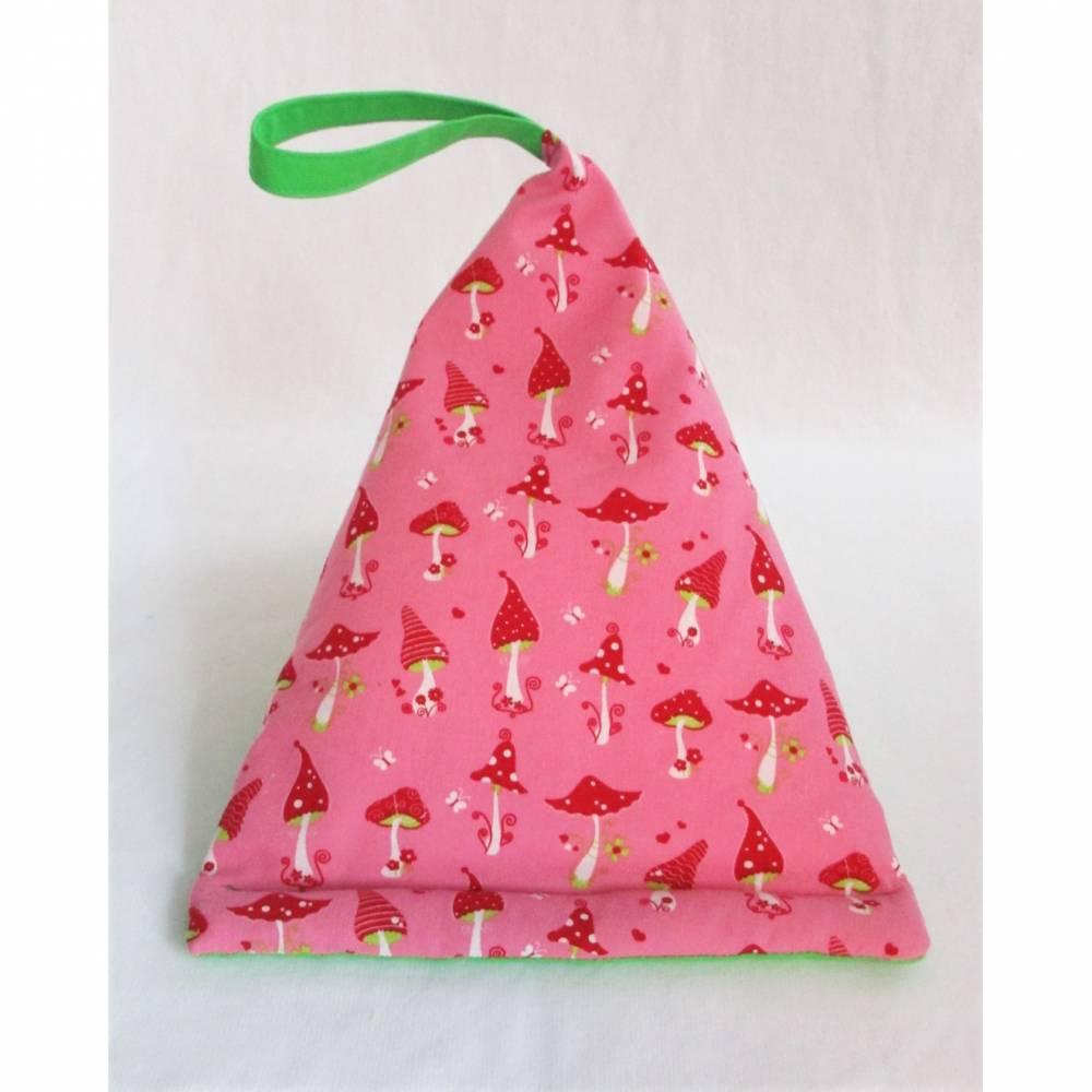 Lesekissen Tabletkissen Fliegenpilz Rot Rosa Grün Pyramide Kissen Lesehilfe Baumwollkissen Vorlesen Lagerungskissen  Bild 1