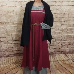 Wikinger Leinen Schürzenkleid, Überkleid bordeaux , Mittelalter Kleid, Wiki Schürze, LARP, SCA, Toraxacum Bild 3