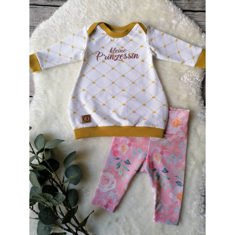 Gr. 50 Baby Set / Shirt / Pullover mit Leggings / Hose – Mädchen * Krone Bild 1
