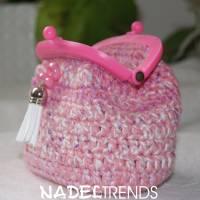 kleine Bügeltasche / Kleingeldbörse / Kosmetiktasche mit Bügel in pink Bild 1